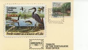1986 Portugal Ameripex 86 Chicago Nature DateCard