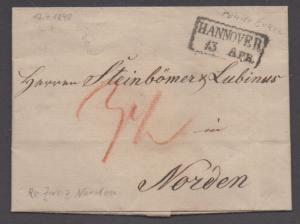 **Germany Stampless Cover, Hannover, 4/13/1840, Folded Letter