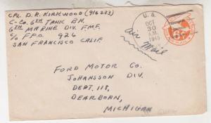 APO 926, 1945 6c. Airmail Envelope to Ford Motor Co., Dearborn, MI.