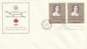 1973 Canada FDC Sc 621 - pair - Royal Visit - Queen Elizabeth II