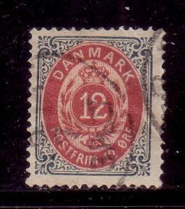 Denmark Sc 29 1875 12 ore stamp used