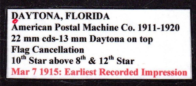 $Florida Machine Cancel Cover, Daytona, 12/19/1913, latest recorded impression