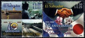 EL SALVADOR-JAPAN DIPLOMATIC RELATIONS Sc 1637-1638 SET of 2 MNH 2005