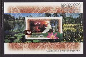 Australia-Sc#1535b-unused NH sheet-Flowers-Birds-Great Egret