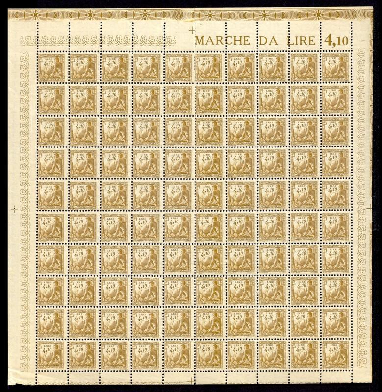 Italy 1941 4.10 L Fascist Social Security Stamp Mint Sheet #241B