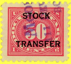 #RD9 – 1918-22 50c Stock Transfer Stamp.  Used.