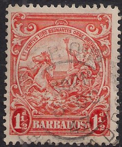 Barbados 1938 – 47 KGV1 1 1/2d Orange used SG 250 ( L221 )