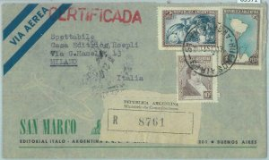 85971- ARGENTINA - Postal History - REGISTERED COVER to ITALY  1951