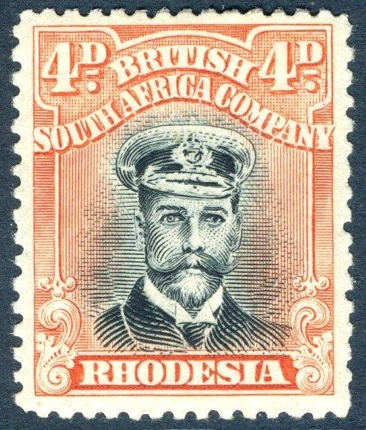 RHODESIA-1919 4d Black & Dull Red Sg 262 LIGHTLY MOUNTED MINT V18569