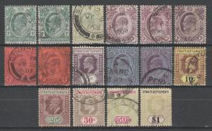 Malaya Straits Settlements 1904-10 KE VII 16V Used SG#127-136 CV£148 M1583