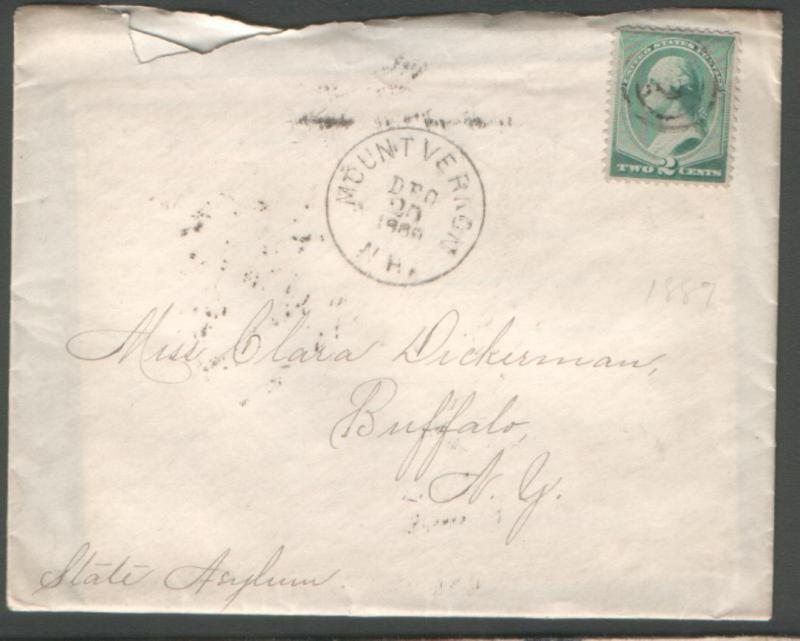 USA 1889 env #213 canc 2 in d/circle of Mount Vernon NH