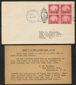#698 BLOCK OF 4 ON NICKLES 1ST DAY COVER 9/8/1931 WASHINGTON, DC CV $650 BT9829