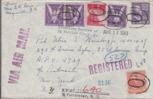 1943, Maysville, NC to APO 4739 Fwd APO 640, Registered, See Remark (33278)