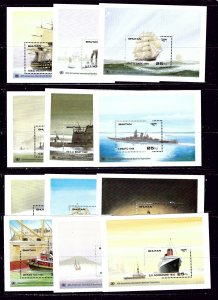 Bhutan 749-60 MNH 1989 Ships complete set of 12 souvenir sheets  #2