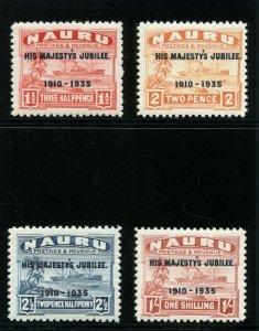 Nauru 1935 KGV Silver Jubilee set complete MLH. SG 40-43. Sc 31-34.