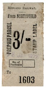 (I.B) Midland Railway : Prepaid Parcel 3/- (Northfield)