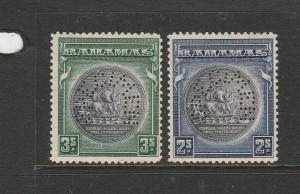Bahamas 1931 Pair, 2/- & 3/- Perfed SPECIMEN MM SG 131s/132s