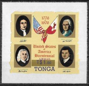 Tonga Overprinted American Bicentennial Die Cut issue of 1976, Scott C237, MNH