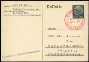 3rd Reich Germany Leitmeritz Sudetenland 1938 Annexation Provisional Cover 67931