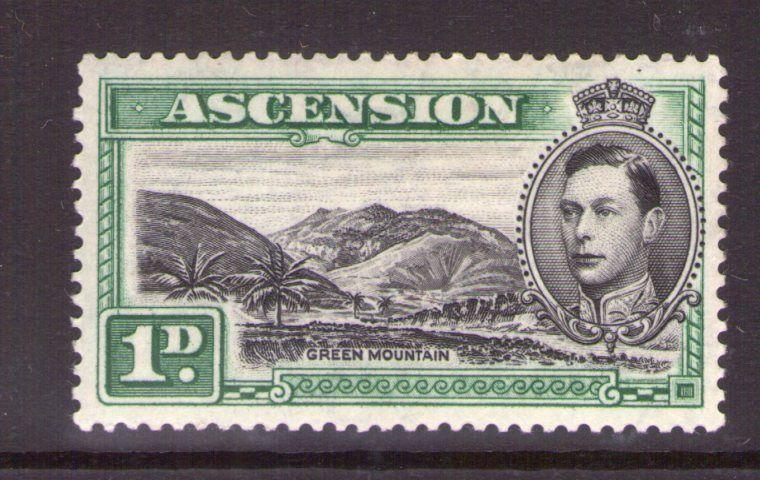 ASCENSION  GEORGE VI 1d Blk/green, single SG39, 3.5, multi-colour lightly hinged