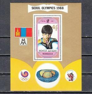 Mongolia, Scott cat. 1758. Seoul Olympics, Boxing s/sheet.