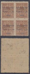 HONDURAS 1933 AIRPOST OFFICIAL Sc CO39 BLOCK OF FOUR Pos. 34-35 & 44-45 MINT+