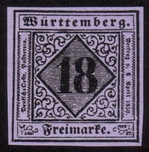 1851, Germany Wurttemberg 18Kr, MNG, Sc 6, FORGERY / REPRINT