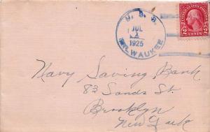 United States Ships 3c Washington Fourth Bureau 1925 U.S.S. Milwaukee blue Ty...