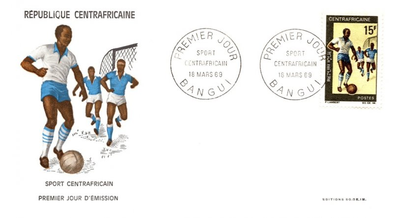 Central African Republic, Worldwide First Day Cover, Sports