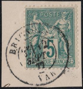 FRANCE - 1877 CàD  BRIGNOLES / VAR  sur Yv.75 sur fragment