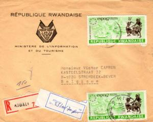 Ruanda Urundi 15F EXPO 67 (2) 1970 Kigali - 2 Registered to Strombeek-Bever, ...