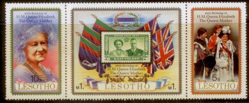 Lesotho MNH Strip 313 80th Birthday Queen Elizabeth II 1980