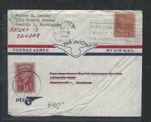 SURINAME  COVER (P2709B)1946 COVER FROM USA RETURNED TO SENDER, 2 COUNTRY STAMPS