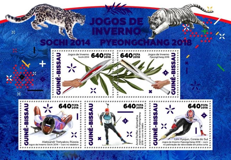 Guinea-Bissau 2018 MNH Winter Olympics Pyeongchang Sochi 2014 5v M/S Stamps