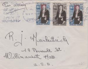 Tunisia 20m and 30m (2) President Bourguiba 1961 Airmail to Willimansett, Mas...