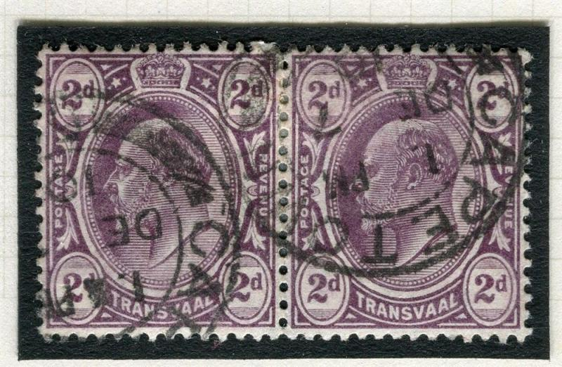 TRANSVAAL Interprovincial Period Ed VII CAPE TOWN Postmark on 2d. pair