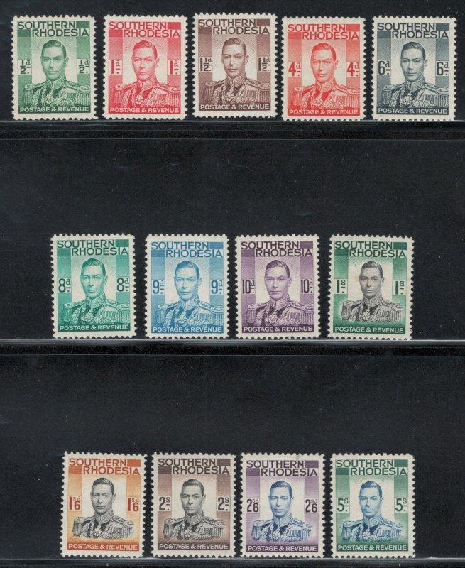 Southern Rhodesia 1937 King George VI Definitives Scott # 42 - 54 MH