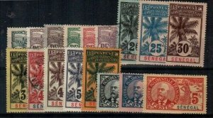 Senegal Scott 57-72 Mint hinged (2 stamps are used, 2 low values thinned)