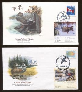 Lot of 4 Canada First Day Covers  Canada Migratory Duck Stamps