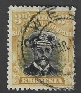 Rhodesia Scott # 124a 3p Used King George V 2017 CV $4.25
