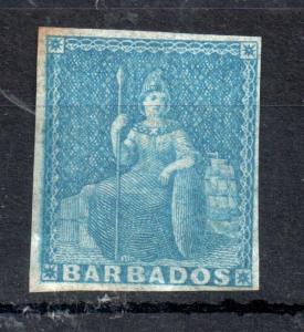 Barbados QV 1855 1d pale blue SG#9 mint MH WS13506