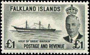 Falkland Islands SC# 120  SG# 185 Hulk of Great Britain 1£ MLH