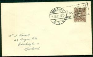 ICELAND 1932 Ship cover to SCOTLAND w/10aur tied by German ship cancel, VF