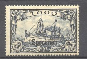 Togo 1900 Yacht 3 Mark. SPECIMEN overprint, mint, hinged