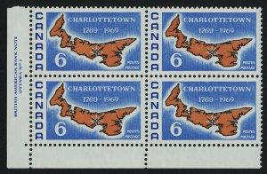 Canada 499 BL Plate Block MNH Charlottetown Bicentennial, Map