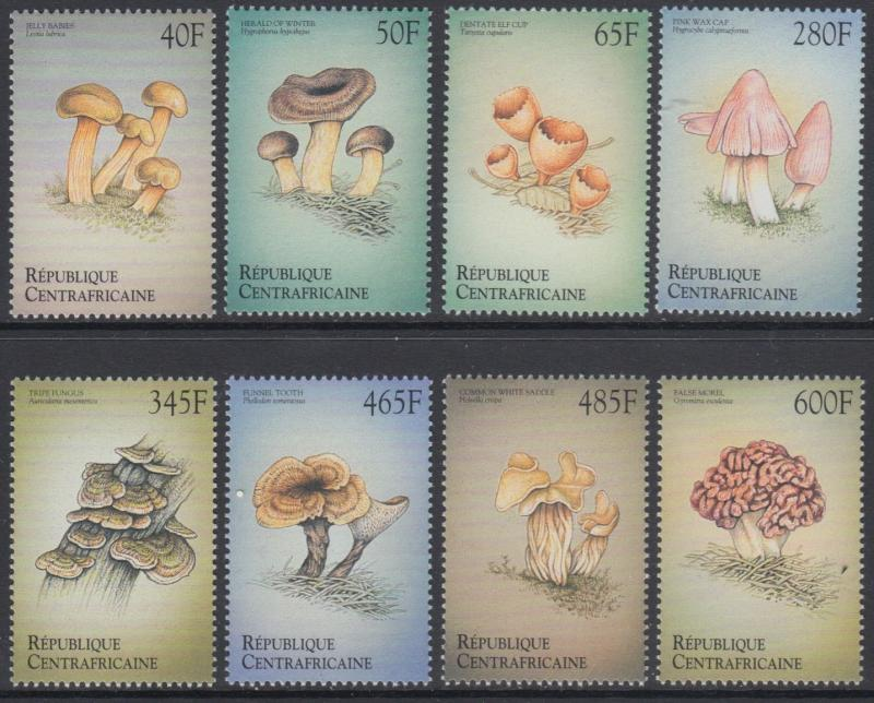 XG-AN764 CENTRAL AFRICAN - Mushrooms, 1999 Nature, 8 Values MNH Set