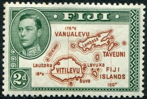 FIJI-1940 2d Brown & Green Die II Sg 254 MOUNTED MINT V48422