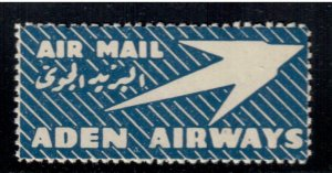 Aden Airways Air Mail Label , Etiquette , VF OG NH - I Combine S/H