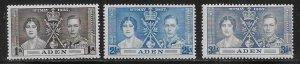 Aden 13-15 KGVI Coronation set MNH