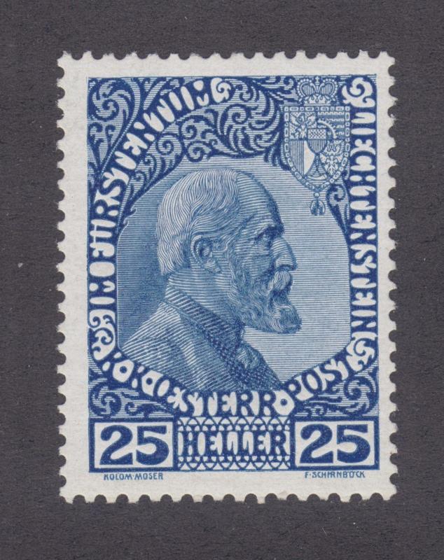 Liechtenstein Sc 3a MNH. 1915 25h Prince Johann II on thin paper, APEX Cert